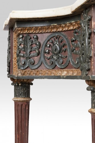 Antiquités - Painted wood etruscan console Directoire period late 18th