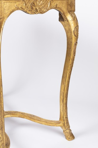 "French Regence - Gilded wood ""cabaret"" table Regence period 18th"