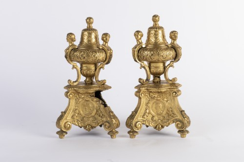 Adirons pair BOULLE's model - Decorative Objects Style French Regence