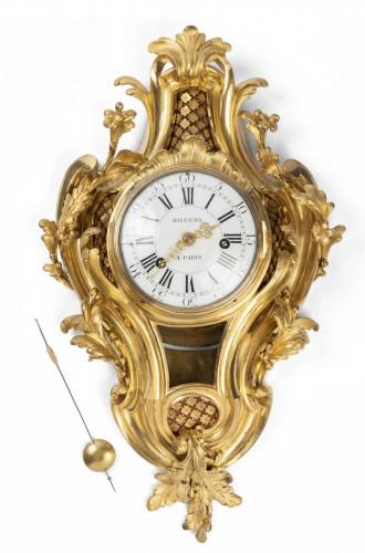 Gilded bronze clock Louis XV period mid 18th