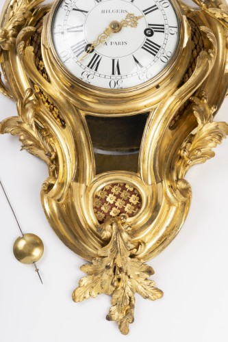 Gilded bronze clock Louis XV period mid 18th - Clocks Style Louis XV