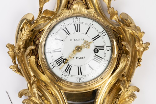 Clocks  - Gilded bronze clock Louis XV period mid 18th
