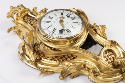 Gilded bronze clock Louis XV period mid 18th - Louis XV