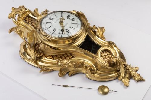 Antiquités - Gilded bronze clock Louis XV period mid 18th