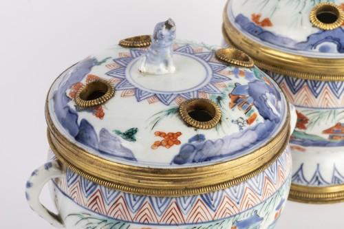 Japanese porcelain covered jar pair circa 1700 -