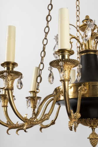 Lighting  - Twelve lights chandelier Empire period early 19th