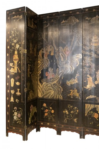 8 leaves Coromandel lacquer screen late 17th - Asian Art & Antiques Style Louis XIV