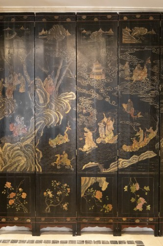 Asian Art & Antiques  - 8 leaves Coromandel lacquer screen late 17th
