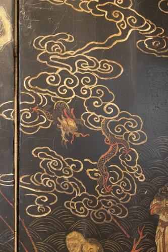 Antiquités - 8 leaves Coromandel lacquer screen late 17th