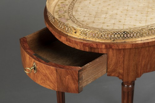 French Louis XVI Mahogany table stamped Canabas -