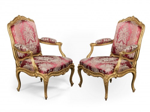 Gilded wood armchairs pair stamped TILLIARD 18th century