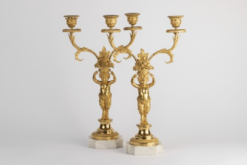 Candlesticks pair Louis XVI period late 18th - Lighting Style Louis XVI