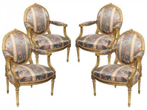 Set of four Louis XVI armchairs