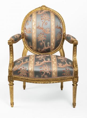 18th century - Set of four Louis XVI armchairs