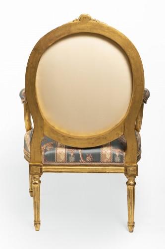 Antiquités - Set of four Louis XVI armchairs