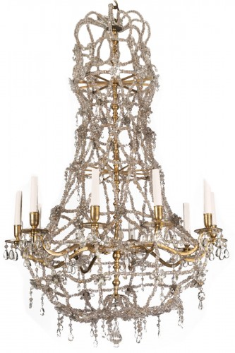 Ten lights crystal chandelier Louis XIV period early 18th