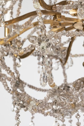 Antiquités - Ten lights crystal chandelier Louis XIV period early 18th