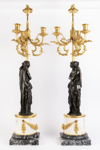 Paire of louis XVI candelabras late 18th - Lighting Style Louis XVI