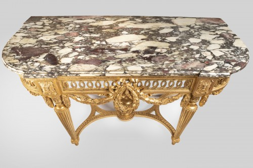 18th century - Gilded wood console Louis XVI period 18th century