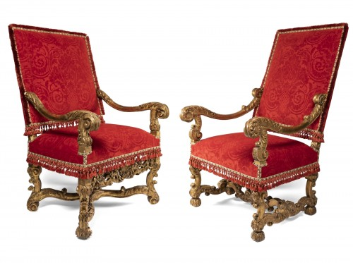 Two wide armchairs Louis XIV period