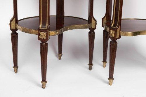 Mahogany bedside tables pair 19th century - Restauration - Charles X