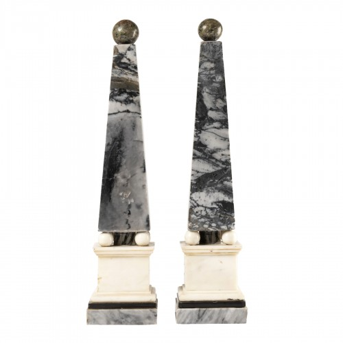 Marble obelisks pair late 18th/early 19th century