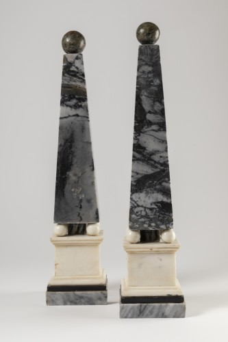 Marble obelisks pair late 18th/early 19th century -