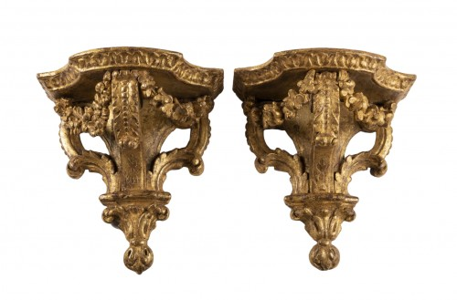 Gilded wood wall brackets pair 18th