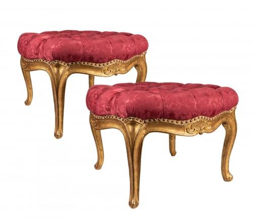 Gilded wood stools pair mid 18th century