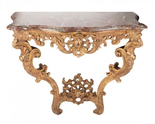 Gilded oak Régence console circa 1730