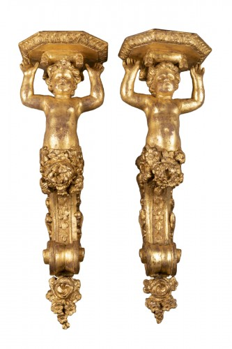 Gilded wood wall brackets pair late Louis XIV period 17th