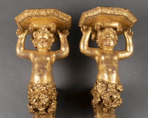Gilded wood wall brackets pair late Louis XIV period 17th - Decorative Objects Style Louis XIV