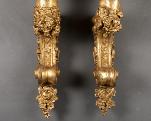 Decorative Objects  - Gilded wood wall brackets pair late Louis XIV period 17th