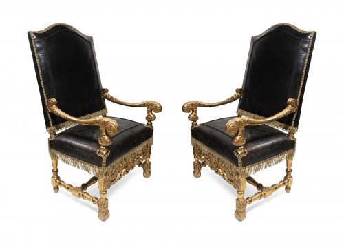 Armchairs pair Louis XIV period circa 1650