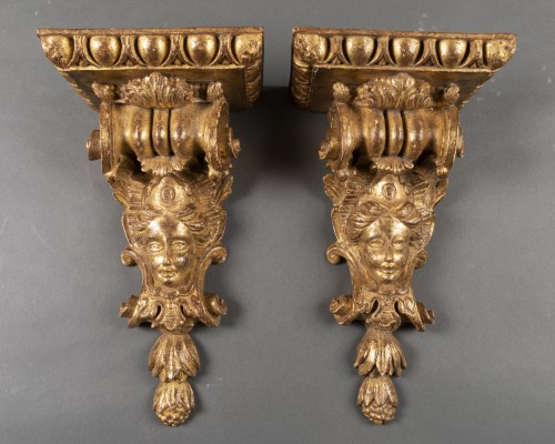 Régence mirror and his two wall brackets 18th - Mirrors, Trumeau Style French Regence