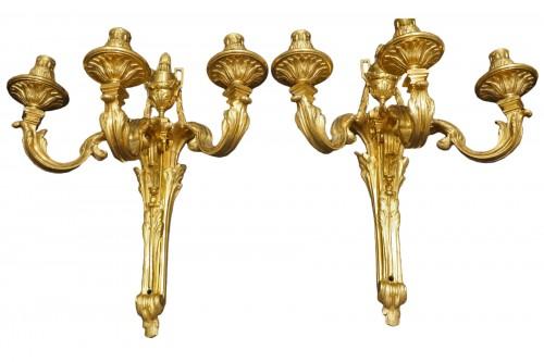 Louis XVI ormolu wall-lights pair