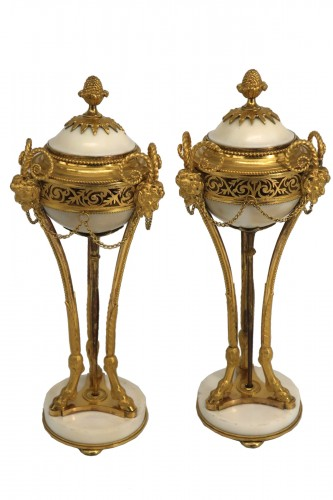 Cassolettes pair forming  candlesticks Louis XVI period late 18th