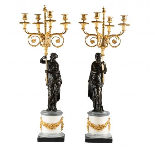 Four lights candelabras Louis XVI period