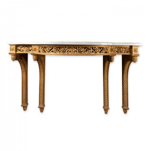 Furniture  - Gilded wood console Louis XVI period late 18th century