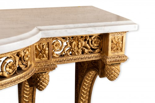 Gilded wood console Louis XVI period late 18th century -