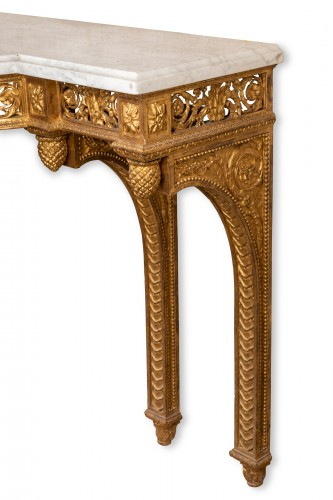 Antiquités - Gilded wood console Louis XVI period late 18th century