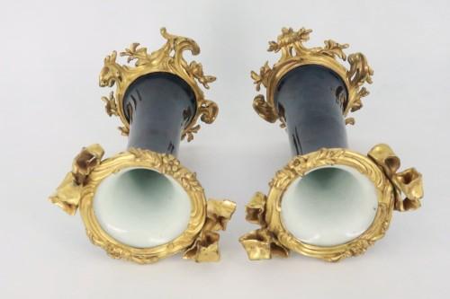 "Porcelain ""cornet"" vases pair mid 18th century -"