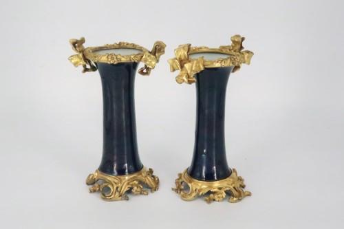 "Antiquités - Porcelain ""cornet"" vases pair mid 18th century"