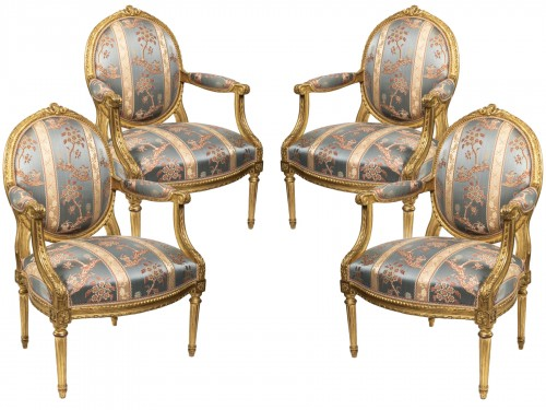 Set of four armchairs Louis XVI period late 18th century