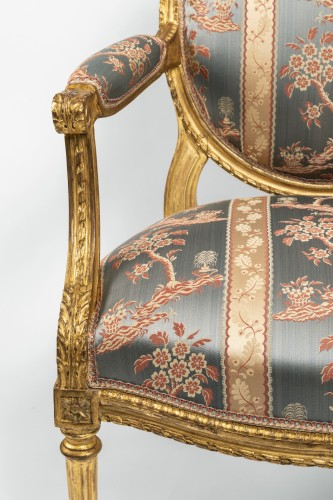 Set of four armchairs Louis XVI period late 18th century -