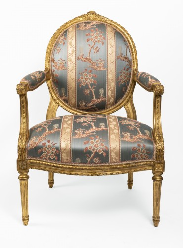 18th century - Set of four armchairs Louis XVI period late 18th century