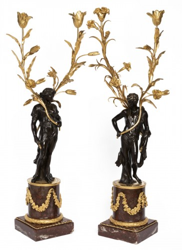 Big candelabras pair Louis XVI period late 18th century