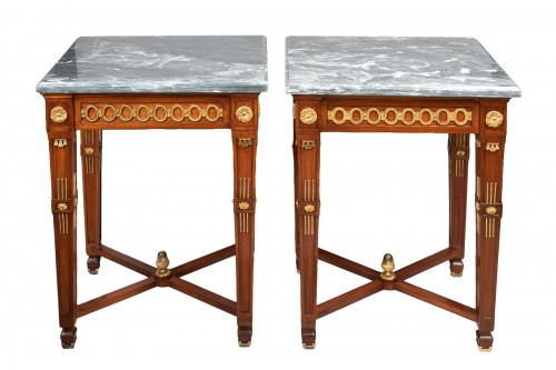 Pair of mahogany tables from the Neoclassical period, late 18th and early 19th century.
