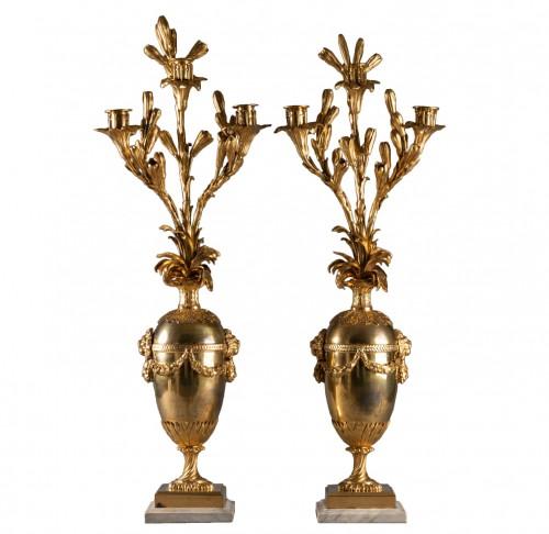 Three lights candelabras pair Louis XVI period late 18th century