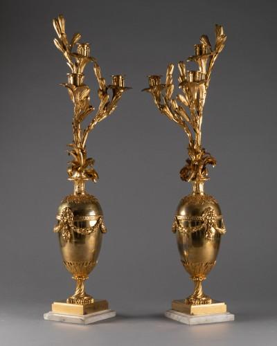 Three lights candelabras pair Louis XVI period late 18th century - Louis XVI